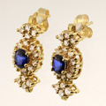 Wonderful Matching Sapphire Diamond 14K Yellow Gold Jewelry Set