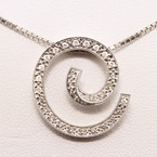 Marvelous Diamond Pave Spiral 14K Pendant & Chain Necklace