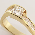 Sparkling Princess Diamond Solitaire 14K Yellow Gold Ring