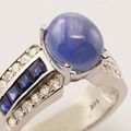 Fascinating Blue Star Sapphire Diamond 14K White Gold Ring