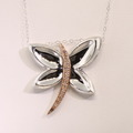 Spectacular Ladies Silver 925 14K Rose Diamond Butterfly Pendant Necklace