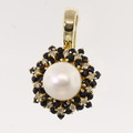 Vintage 14K Yellow Gold Pearl Sapphire Diamond Cluster Pendant