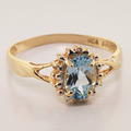 Yellow Gold 14k Ring With A Elegant Blue Aquamarine & Diamonds