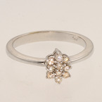 Sparkling 14K White Gold Diamond Cluster Ring Jewelry