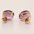 Beautiful Pair Of Amethyst Oval Shaped Earrings In 14kt Gold Setting
