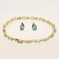 Breathtaking Classic 10K Yellow Gold TopazJewelry  Tennis Bracelet Earring Set
