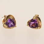 Modern 10K Yellow Gold Heart Shape Amethyst  Stud Earrings Jewelry