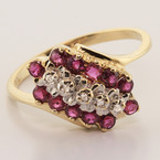Classic 10K Yellow Gold Ruby Cocktail Ring Jewelry