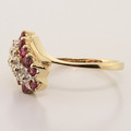 Classic Ladies 10K Yellow Gold Ruby Diamond 0.48CTW Cocktail Ring Jewelry