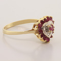Stunning 10K Yellow Gold Ruby Diamond Heart Shape Cocktail Ring