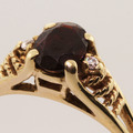 Vintage Ladies 10K Yellow Gold Garnet Diamond 0.80CTW Right Hand Ring Jewelry