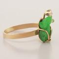 Unique 10K Yellow Gold Custom Jade Diamond Ring Jewelry