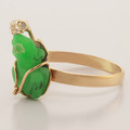Unique 10K Yellow Gold Custom Jade Diamond Ring Jewelry