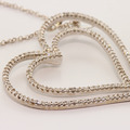 Spectacular 14K White Gold Round Diamond Heart Shape Pendant Necklace