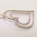 Spectacular 14K White Gold Round Diamond Heart Shape Pendant Necklace