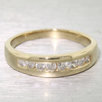 Brilliant 14K Yellow Gold Diamond Wedding Band Round Brilliant Cut Channel Set