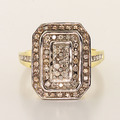 Glamorous  Ladies Estate 10K Yellow White Gold Diamond Cluster Ring