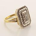 Glamorous  Ladies Estate 10K Yellow White Gold Diamond Cluster Ring