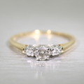 Three Stone Diamond Two Tone Gold Engagement Ring