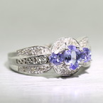 Ladies 14K White Gold Tanzanite Round Diamond Ring Jewelry