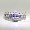 Stunning Ladies 14K White Gold Tanzanite Round Diamond 1.00CTW Ring Jewelry