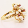 Dazzling Vintage Estate Ladies 14K Yellow Gold Pearl Ruby Cocktail Ring