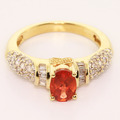 Stunning Vintage Estate Ladies 10K Yellow Gold Garnet Diamond ring