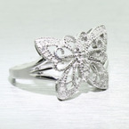 Antique Style 10K White Gold Diamond Butterfly Right Hand Ring Jewelry