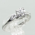 Vintage Estate 14K White Gold Diamond Heirloom Engagement Ring