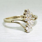 Vintage Estate 14K Yellow Gold Round Diamond Cluster Cocktail Ring