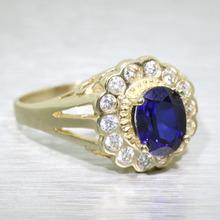 Vintage Estate 10k Yellow Gold Sapphire Diamond Fashion Heirloom Ring