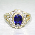 Vintage Estate 10k Yellow Gold Sapphire Diamond Fashion Heirloom Ring