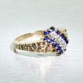 Vintage 10K Yellow Gold Diamond Sapphire Nugget Cluster Ring