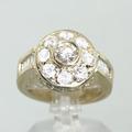 Unique Ladies 14K Yellow Gold Round Diamond Engagement Ring