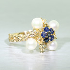 Vintage Ladies 18K Yellow Gold Pearl Sapphire 0.60CTW Nugget Floral Ring Jewelry