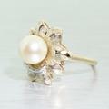 Dazzling Ladies Vintage Estate 14K Yellow Gold Pearl Diamond Flower
