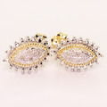 Dazzling Ladies Vintage 10K Two Tone Round Diamond Stud Earring Pair