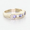 Vintage Estate Ladies 14K Yellow Gold Tanzanite Diamond Wedding Band Ring