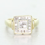 Modern Womens 14K Yellow White Gold Diamond Statement Right Hand Ring