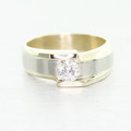 Handsome Vintage Men's 14K Yellow Gold Round Diamond Wedding Band Ring
