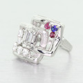 Unique Ladies 14K White Gold Emerald Diamond Sapphire Ruby Right Hand Ring