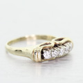 Elegant Vintage Estate Ladies 14K Yellow Gold Round Diamond Heirloom Ring