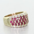Dazzling Vintage Estate 14K Yellow Gold Ruby Round Diamond Anniversary Band Ring