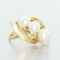 Stunning Vintage Estate Ladies 14K Yellow Gold White Pearl Ring Jewelry