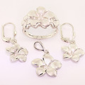 Spectacular 14K White Gold Hawaiian Plumeria Pendant Ring Earring Jewelry Set