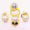 Dazzling 14K Yellow Gold Pearl Diamond Ring Earrings Pendant Jewelry Set