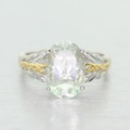 Stunning Ladies 18K White Gold Oval Tourmaline Solitaire Ring