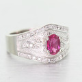 Dazzling Ladies 14K White Gold Oval Tourmaline Round Diamond Anniversary Ring