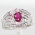 Dazzling Ladies 14K White Gold Oval Tourmaline Round Diamond Anniversary Ring