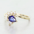 Elegant Ladies 14K Yellow Gold Pear Shape Sapphire Diamond Cocktail Ring